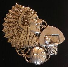 Plate & Oxidized Matte Silver Warriors Indian Chiefs Basketball Pin Silver