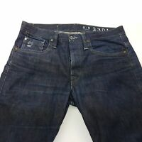 G-Star Raw 3301 Mens Jeans W34 L36 Dark Blue Regular Fit Straight High Rise