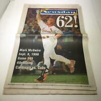 Newsday: Sept 9 1998 62! Mark McGwire st louis cardinals hr chase