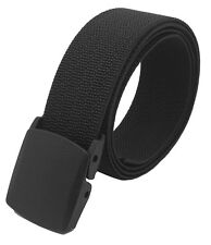 Men's Black Tactical Heavy Duty Elastic Military Belt with Plastic Cam Buckle