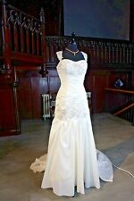 Taffeta Wedding Gown by Hilary Morgan 14 Ivory Beaded With Small Train