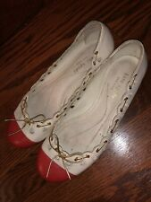 kate Spade Red And Biege Ballerina Flats Used In Great Condition