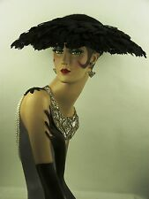 VINTAGE HAT 1950s BLK FELT & FEATHER WIDE BRIM PICTURE HAT, BEAUTIFULLY FEMININE