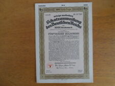 1937 Nazi German Treasury Bond-5000 Reichsmark Bond-Swastika Seal
