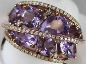 ESTATE 4.60CTW DIAMOND AMETHYST 14KT ROSE GOLD CLUSTER COCKTAIL RING #R48338AMB