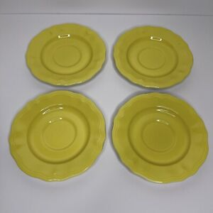 4 Federalist Buttercup Ironstone Saucer Plates Oven Proof Vintage MCM