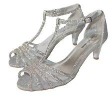 Zapatos de Novia Danza Sandalias Pequeño Tacón Con Tiras Plata A233-6683