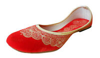 Women Shoes Indian Handmade Jutties Leather Ballerinas Red UK 2.5-7.5 EU 35-42