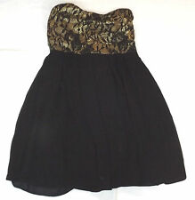 BNWT TFNC ELIDA UK 12 EUR 40 BLACK LACE GOLD STRAPLESS COCKTAIL PARTY MINI DRESS