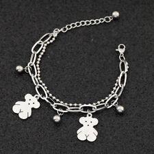 Simple Women Double Beads Bracelet Cute Bear Pendant Stainless Steel Gift