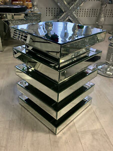 NEW Pillar Mirrored Crushed Diamond Crystal Side End Table Stand Mirror Glitz