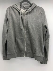 H&M Divided Mens Hoodie Sweatshirt Gray Hood Sweater Full Zip Long Sleeve L