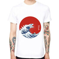 Kanagawa Surfing Men's Cotton Funny T-shirts Cool Short Sleeve Tops White Tee