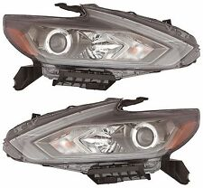 Fit NISSAN ALTIMA 2016 HALOGEN W/O LED DRL HEADLIGHTS HEAD LAMPS BLACK - PAIR
