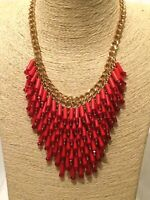 Womens STATEMENT Big Large Long Gold RED BEADED Chain Chunky Necklace Festival