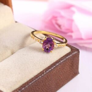 gold vermile ring,amethyst wedding ring,925 sterling silver ring,american style