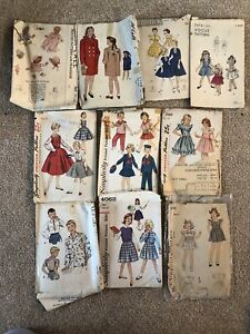 Lot of 10 Vintage Children's Sewing Patterns - 1940s and 1950s