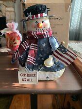 Home Interiors Tin Punch Christmas Tin Snowman Holder New God Bless Us All