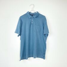 John Varvatos USA mens Polo tee size XL Blue pin stripe short sleeve #AUF7B
