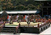 JAPAN Post Card Postkarte Shundeika dance Tanz Bugaku Shrine Festival color AK