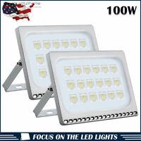 2pcs Ultraslim 100W LED Floodlight Outdoor Security Lights 110V Cool white