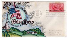 #1004 Betsy Ross Philadelphia Dorothy Knapp Hand Painted Cachet 1951 FDC
