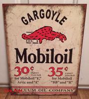 MOBIL OIL GAS GARGOYLE TIN METAL SIGN MOBILOIL VACUUM RETRO VINTAGE GARAGE ART