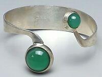 Skandinavische Silber Armspange Armreif 830 Silber punz. 2 große Grünachate bes.