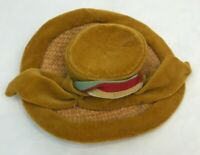 "Vintage Doll Hat Straw Brim Velvet Trim Grosgrain Ribbon Gold 5.25"" Accessories"