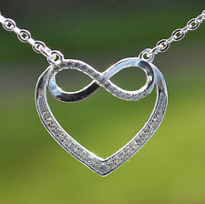 Sterling Silver 925 Open Heart Infinity Necklace on 16-17.5 inch Trace Chain
