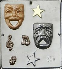 FREE SHIP NEW 7 Cavity COMEDY TRAGEDY Chocolate Candy Fondant Plaster Clay Mold