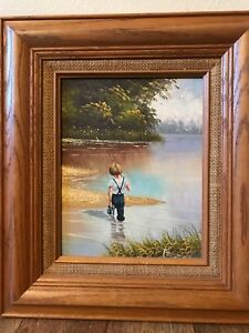 "Original Manuel Painting ""Gone Fishing"" 10"" By 8""  Marlin Art"