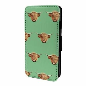 For Mobile Phone Flip Case Cover Highland Cow Pattern - S5446