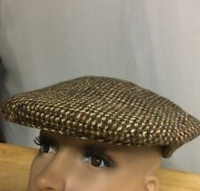 29b5d13b571 Vintage Harris Tweed Newsboy Cap Cabbie Flat Hat Houndstooth Brown 100% Wool  7