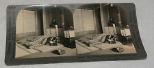 ANTIQUE STEREOVIEW PHOTO KEYSTONE INTERIOR OF A JAPANESE HOME THE BED JAPAN 940
