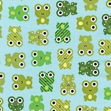 Robert Kaufman Cotton Fabric. Urban zoologie Frog Frogs in Sky Blue. By the FQ