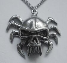 Chain Necklace #3012 Pewter SPIDER SKULL (46mm x 33mm) Silver Tone