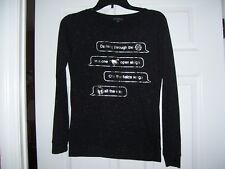 Ladies black and silver Christmas shirt by Fifth Sun in XS, great shape, cute.