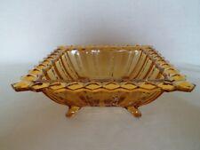 Art Deco Amber Glass Square 'Fortuna' Bowl by Brockwitz