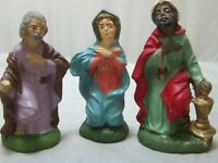 "Vintage Italy 3 Pieces Christmas Nativity Mary Joseph Wiseman 3.5"" Chalk Figures"