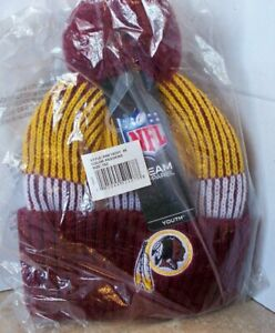 NFL Washington Redskins Winter Cuff Pom Knit Stocking Cap Hat Boys 8-20