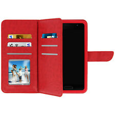 Universal Smartphone wallet case, with 6 card slots, size: S - Red
