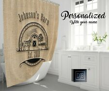 Rustic Farmhouse Shower Curtain Personalized | Cow & Pig Logo Print