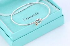 Tiffany & Co. 18 Kt Gold & .925 Sterling Silver Love Knot Hook Bangle Bracelet