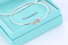 Tiffany & Co. 18 Kt Gold & .925 Sterling Silver Love Knot Hook Bangle Bracelet