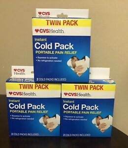 3x Twin Pack Boxes (6 Total) Instant Cold Pack Portable Pain Relief, No Refridge