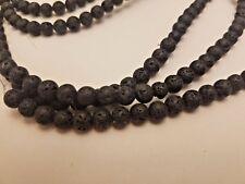 Natural Lava Stone Beads, Round, Black 6.5mm, Hole: 0.5mm -Qty 10 Jewelry Making