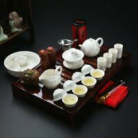 Chinese Ceramic Kung Fu Tea Set Teapot Infuser Tea Cup with Wooden Tea Tray