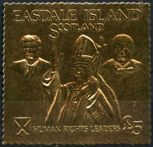 Easdale Island £5 Human Rights Leaders, MNH Gold Foil Stamp #E17850