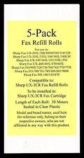5-pack UX-3CR Fax Refill Rolls for Sharp UX-330L UX-335L UX-340 UX-340L UX-340LM